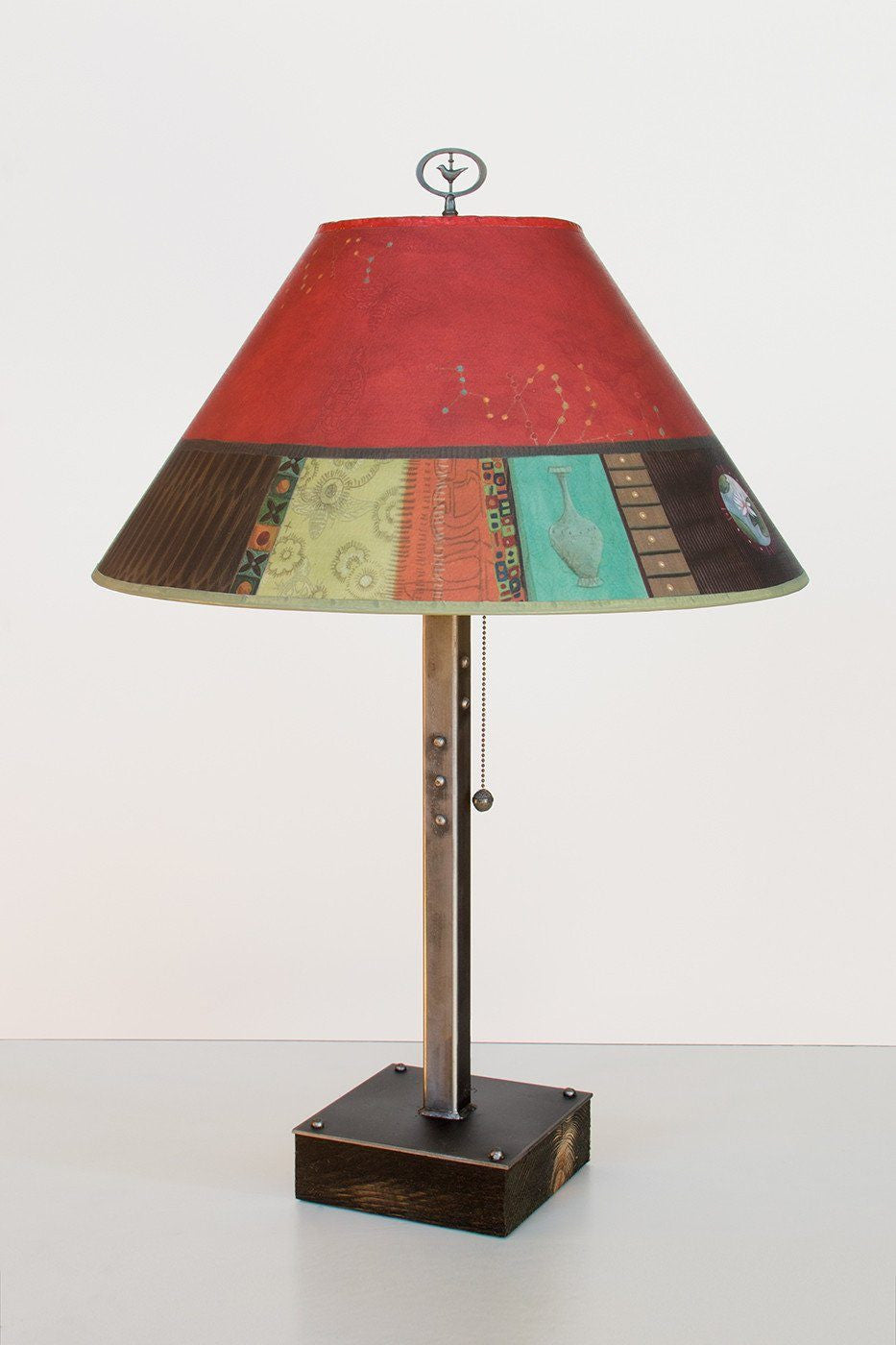 Steel Table Lamp on Wood with Large Conical Shade in Red Match