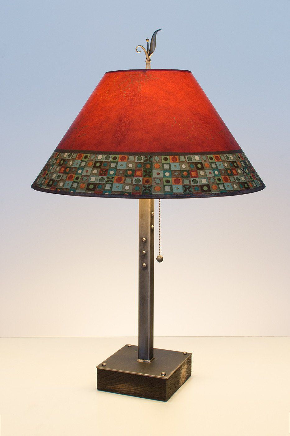 Steel table lamp on wood with large conical shade in red mosaic steel table lamp on wood with large conical shade in red mosaic geotapseo Gallery