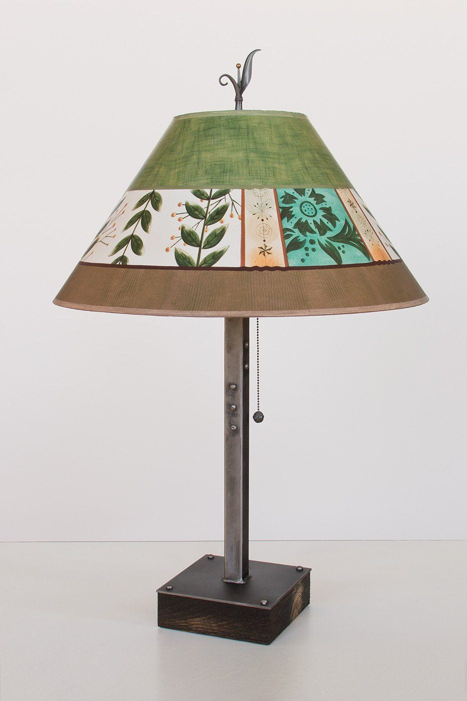 Steel Table Lamp on Wood with Large Conical Shade in Spring Medley Apple