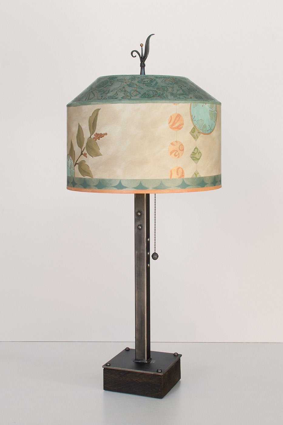 Steel Table Lamp on Wood with Medium Canopy Shade in Celestial Leaf