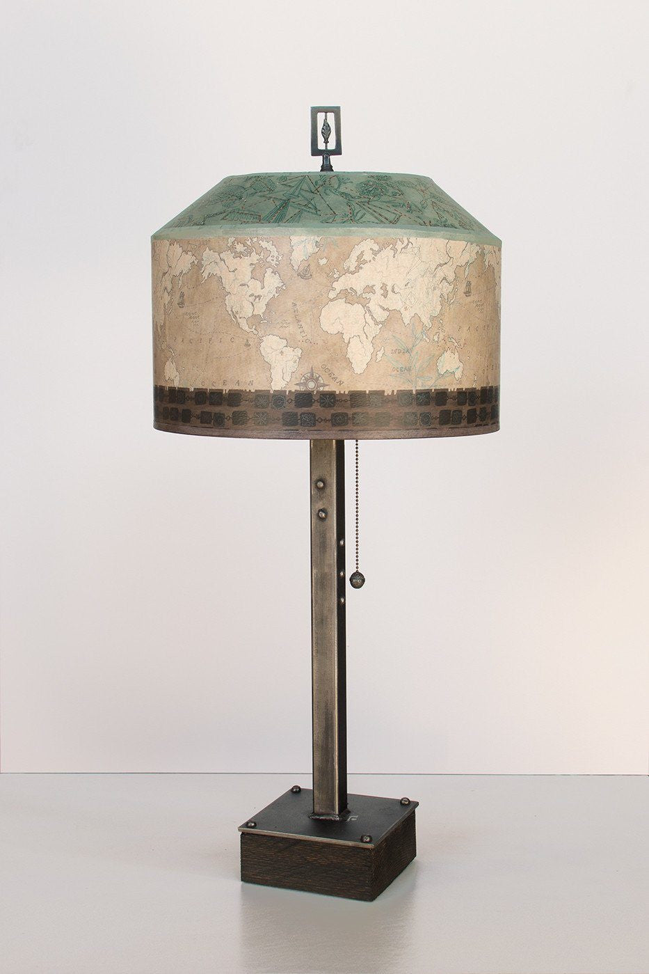 Steel Table Lamp on Wood with Medium Canopy Shade in Sand Map