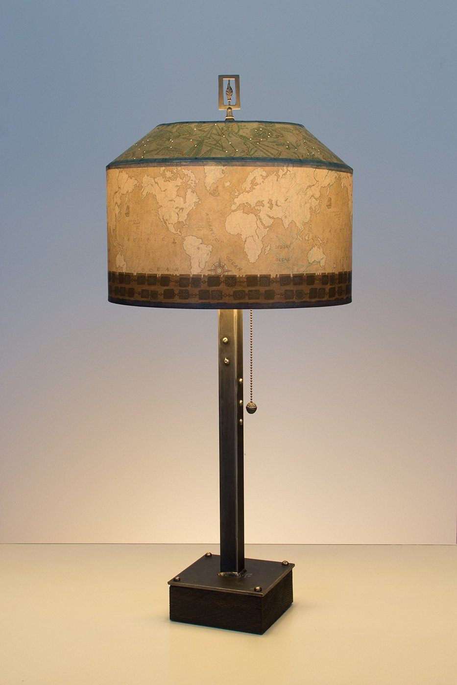 Steel table lamp on wood with medium canopy shade in sand map steel table lamp on wood with medium canopy shade in sand map aloadofball Images