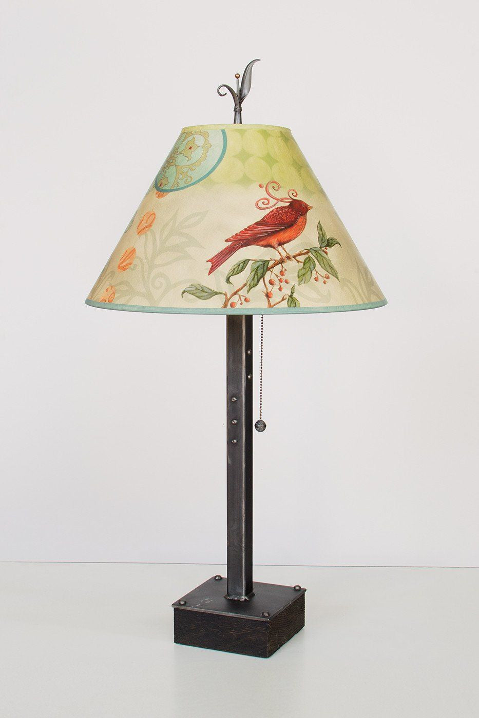 Steel Table Lamp on Wood with Medium Conical Shade in Birdscape - Lit