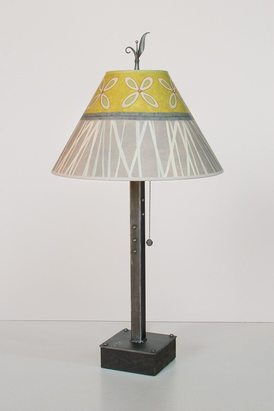 Steel Table Lamp on Wood with Medium Conical Shade in Kiwi - Lit