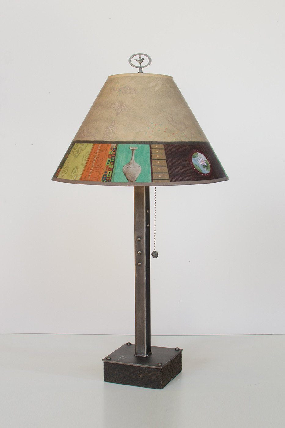 Steel Table Lamp on Wood with Medium Conical Shade in Linen Match - Lit