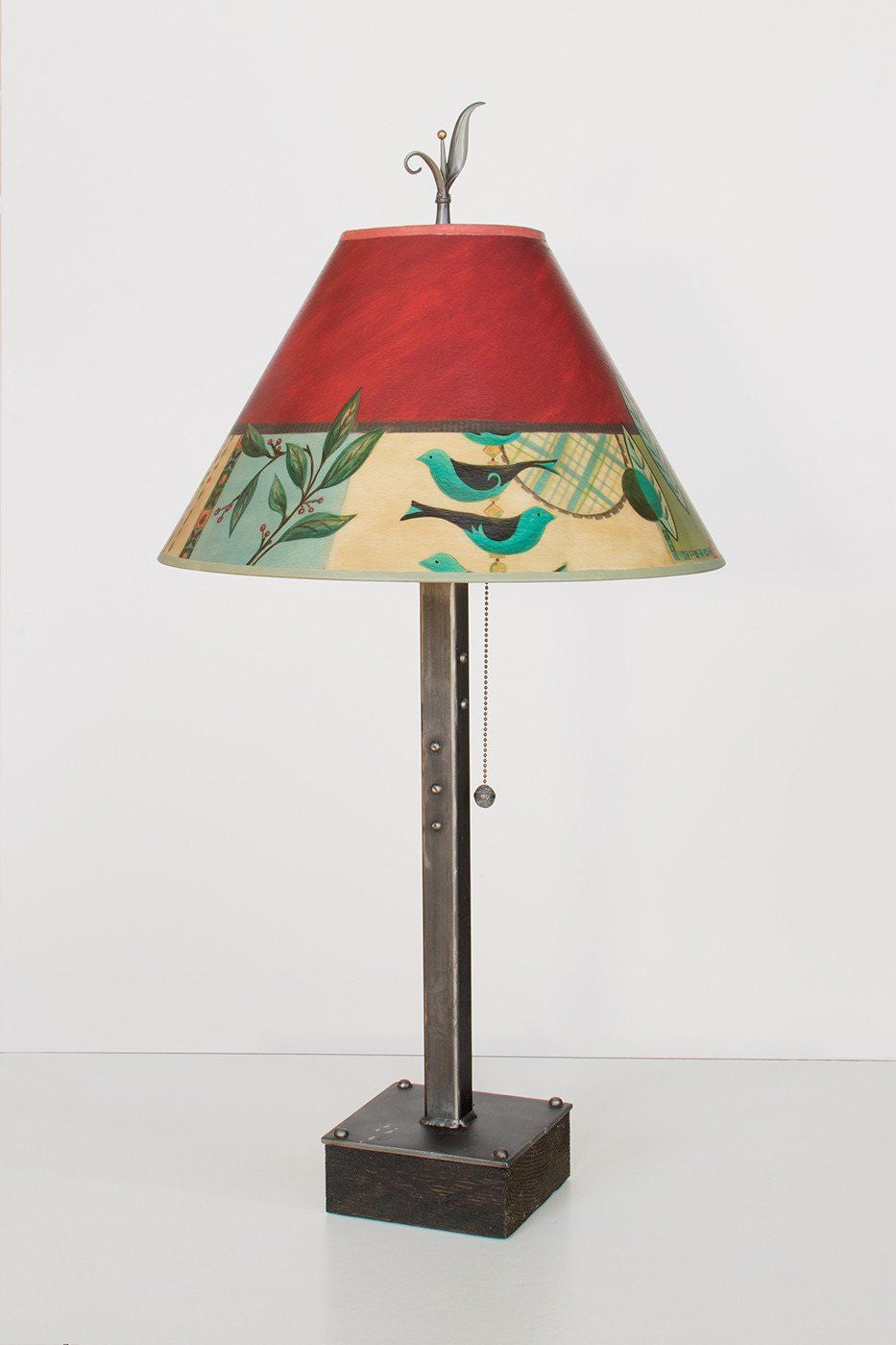 Steel Table Lamp on Wood with Medium Conical Shade in New Capri - Lit