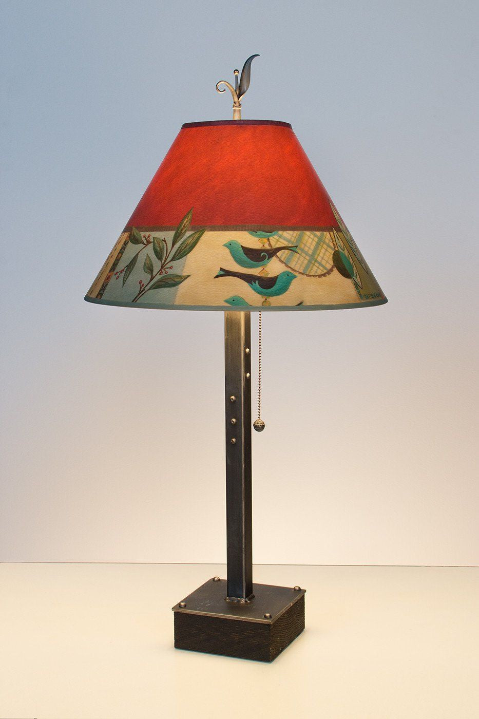 Steel Table Lamp on Wood with Medium Conical Shade in New Capri