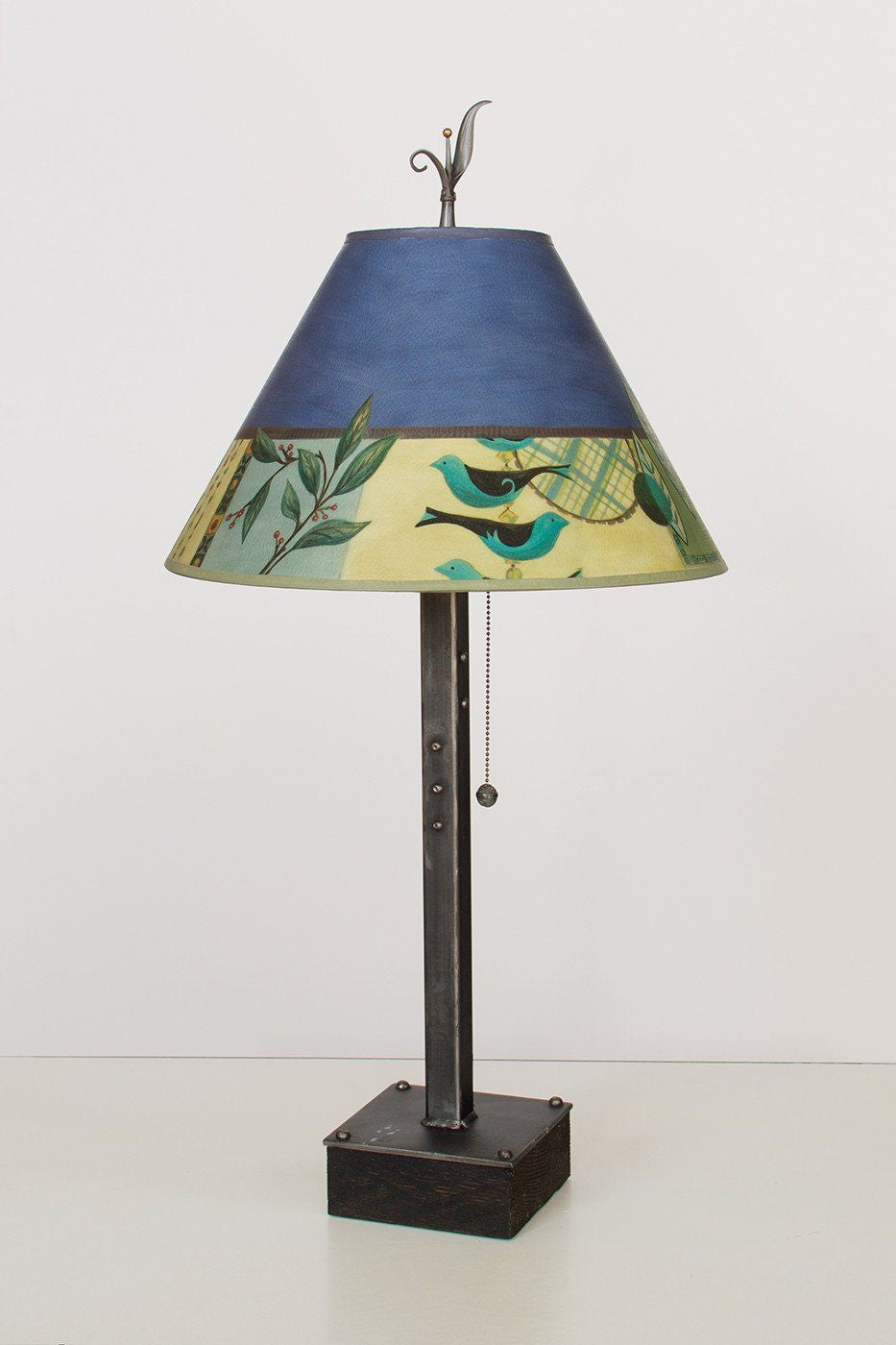 Steel Table Lamp on Wood with Medium Conical Shade in New Capri Periwinkle - Lit