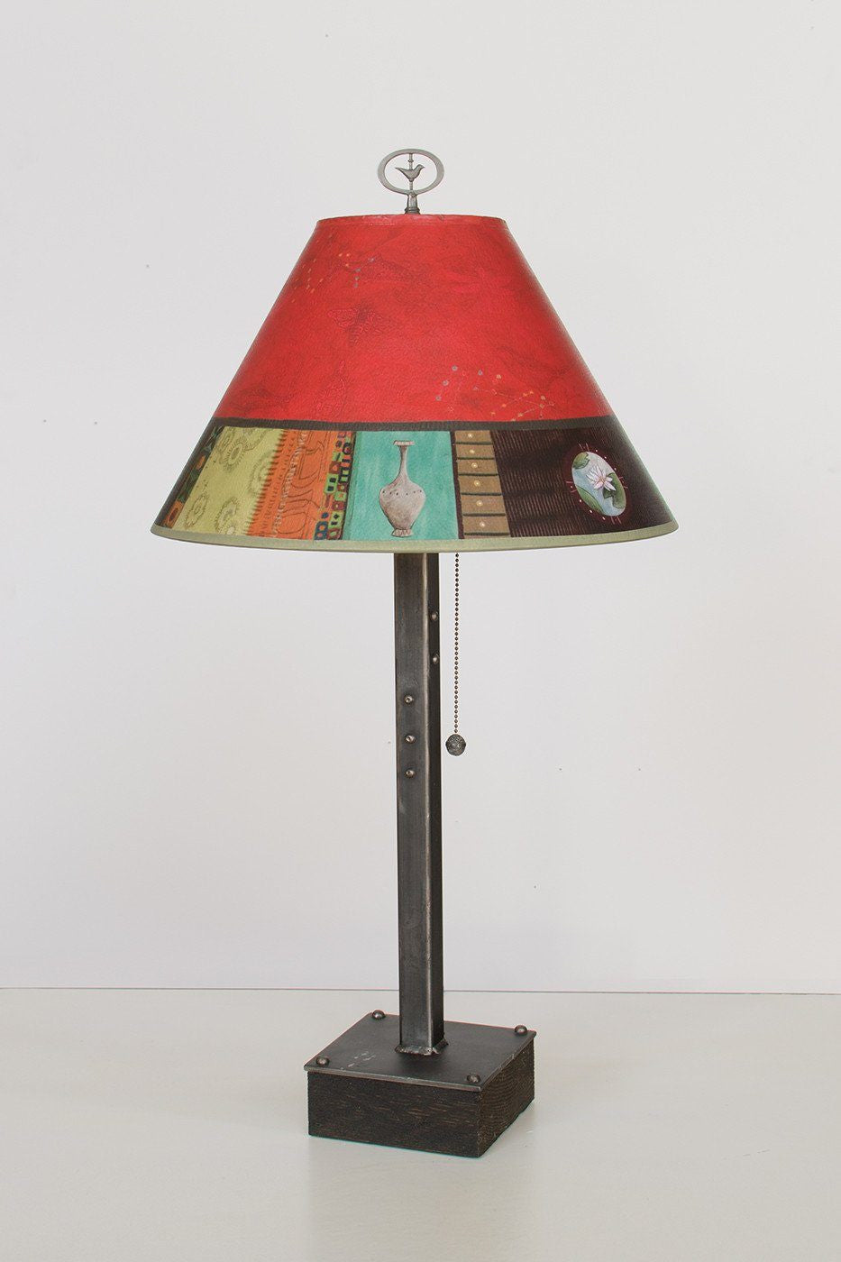 Steel Table Lamp on Wood with Medium Conical Shade in Red Match - Lit
