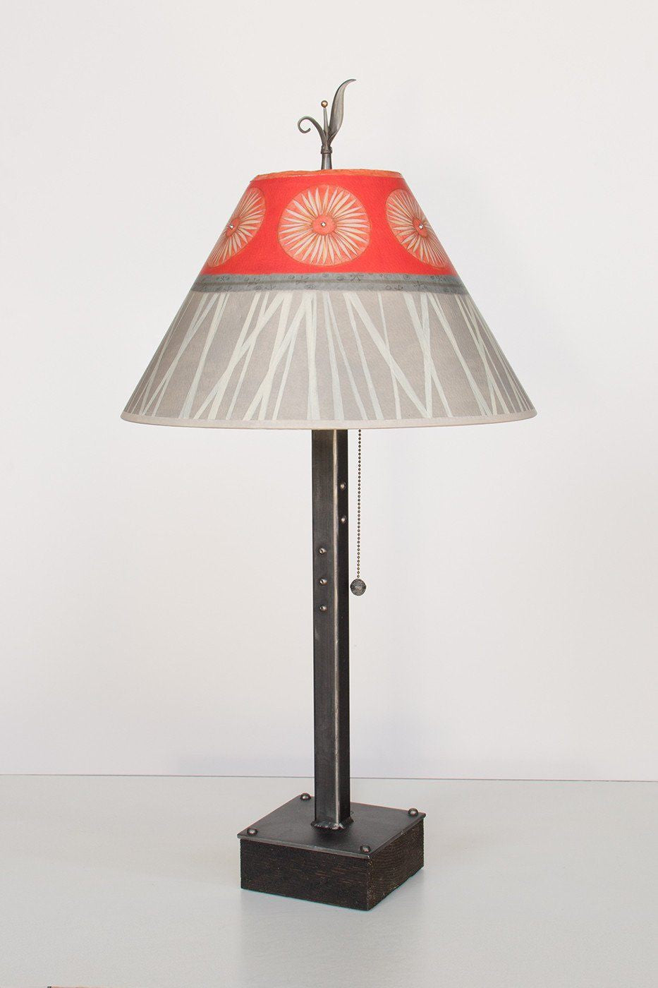 Steel Table Lamp on Wood with Medium Conical Shade in Tang - Lit