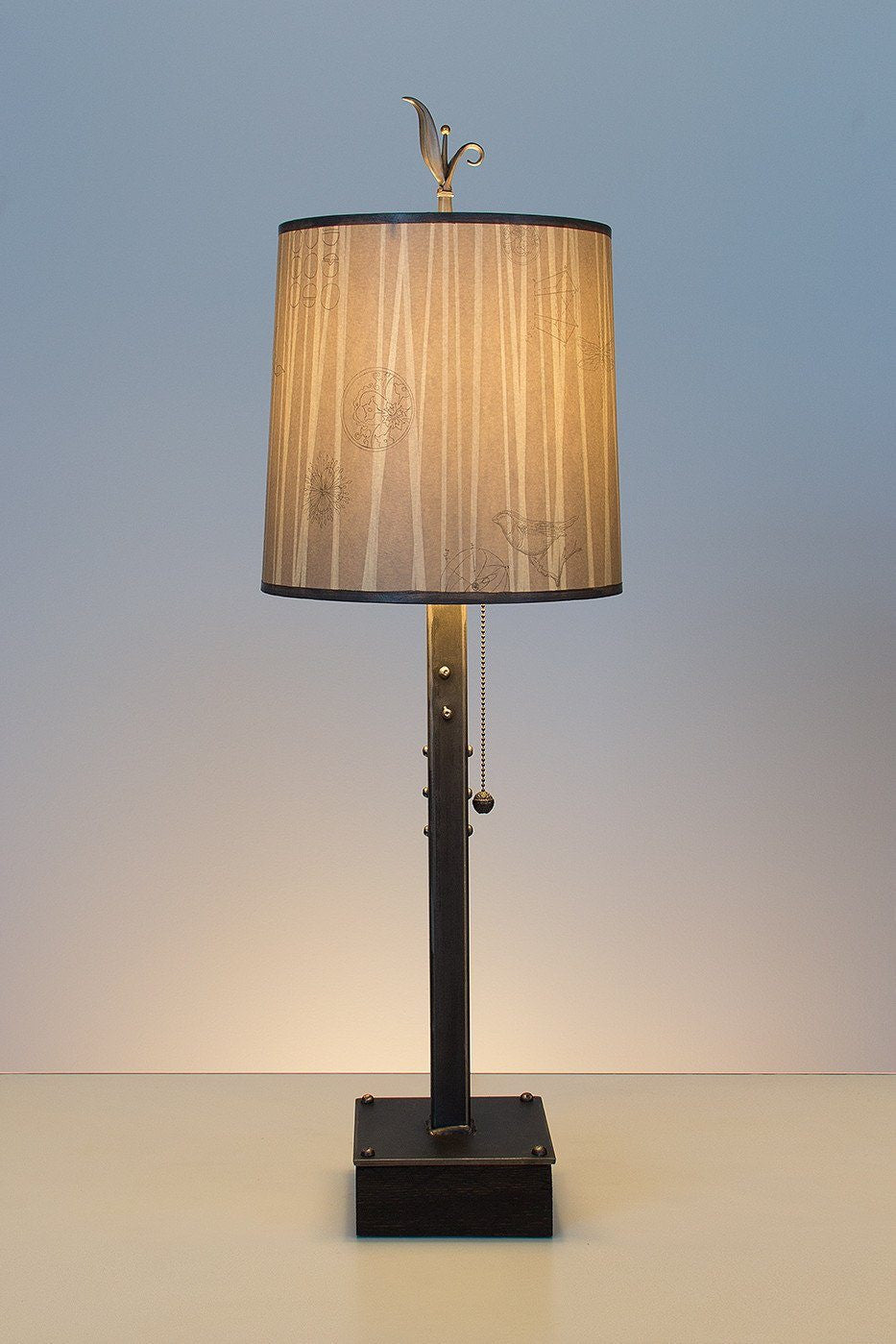Steel Table Lamp on Wood with Medium Drum Shade in Birch