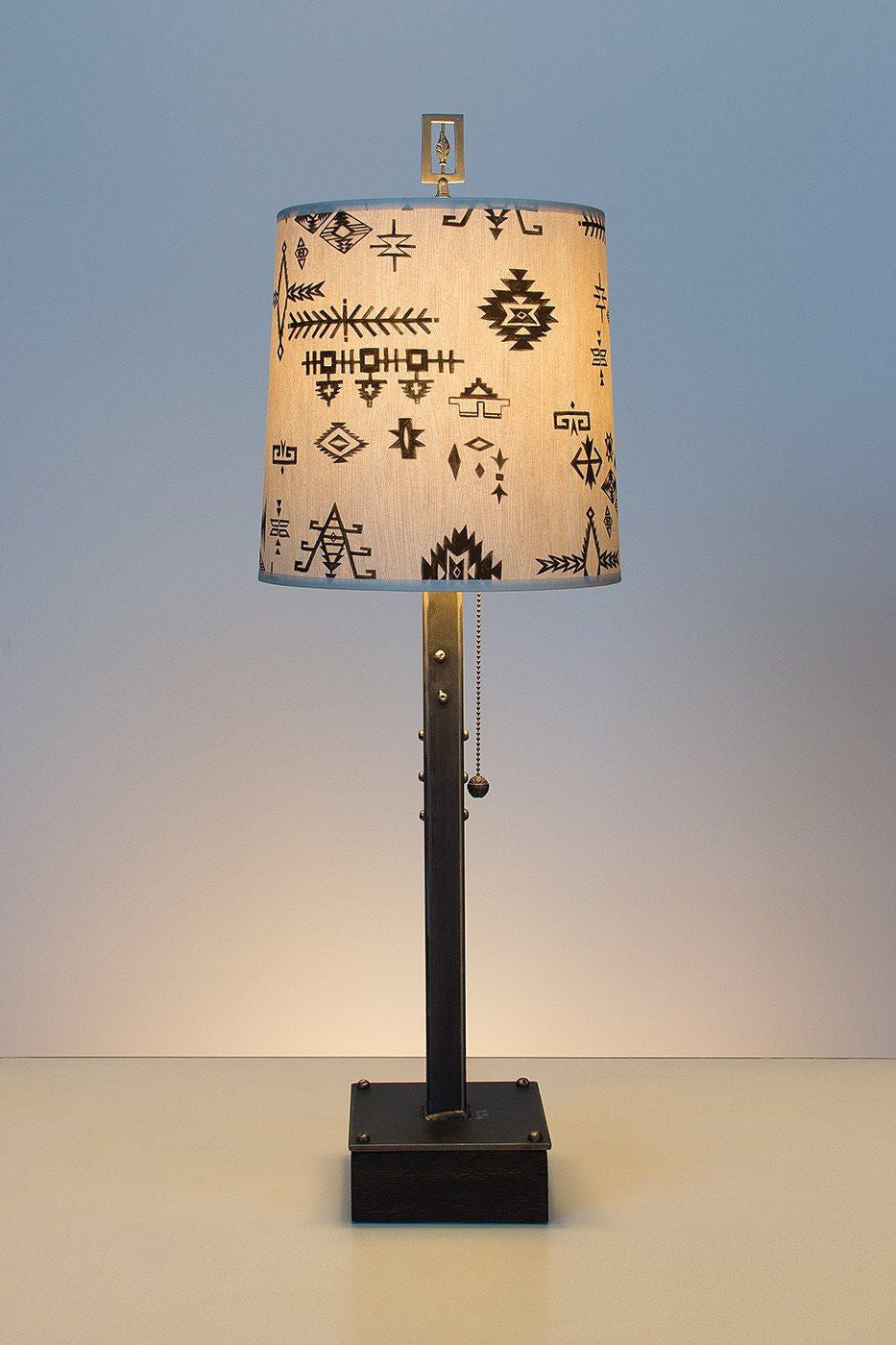 Steel Table Lamp on Wood with Medium Drum Shade in Blanket Sketch