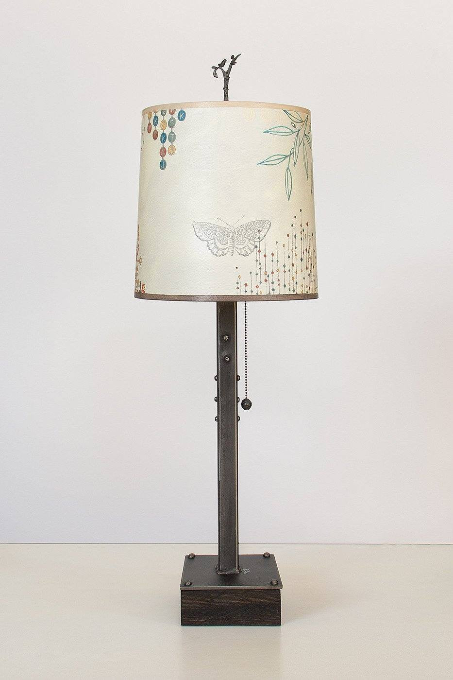Steel Table Lamp on Wood with Medium Drum Shade in Ecru Journey