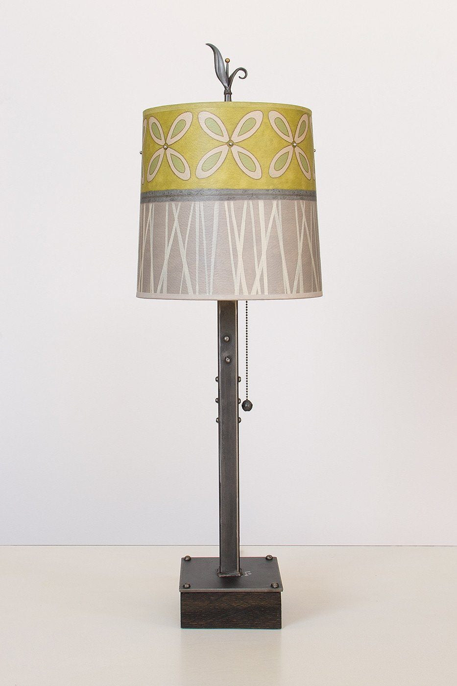 Steel Table Lamp on Wood with Medium Drum Shade in Kiwi