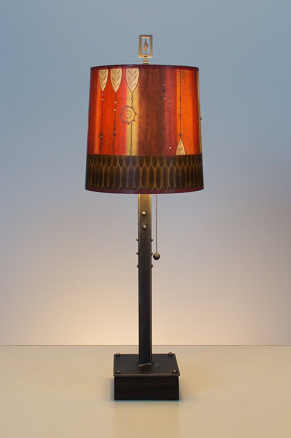 Steel Table Lamp on Wood with Medium Drum Shade in Leaf Stripe Red