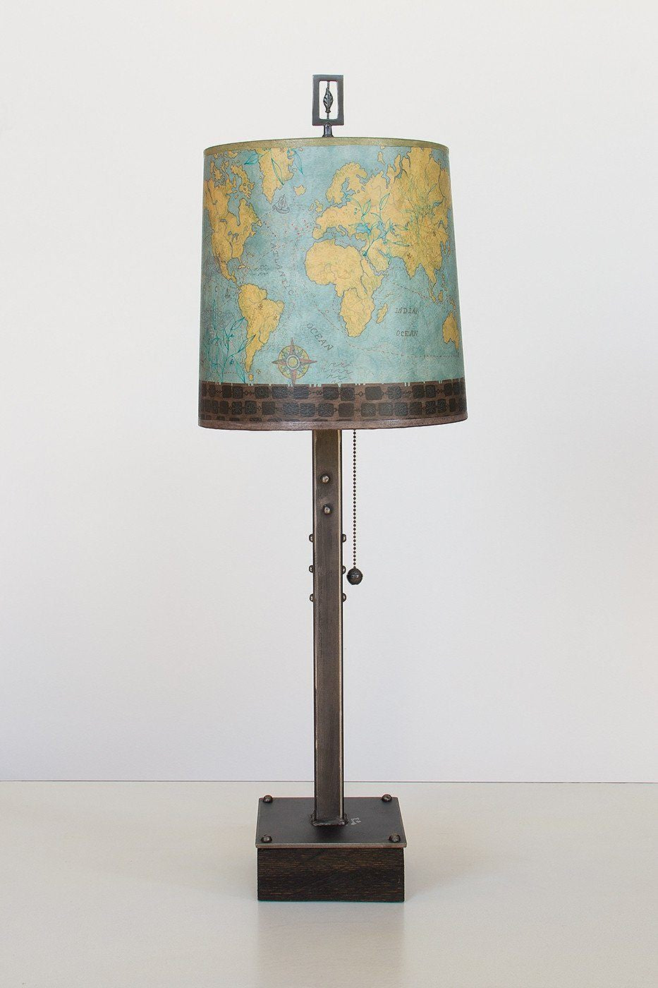 Steel Table Lamp on Wood with Medium Drum Shade in Map