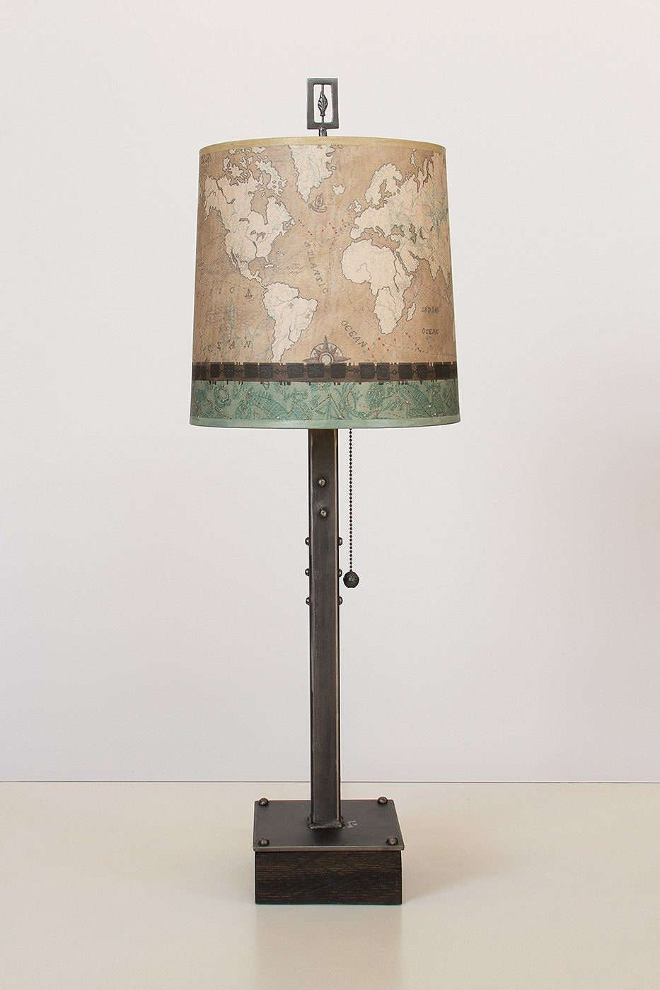 Steel Table Lamp on Wood with Medium Drum Shade in Sand Map