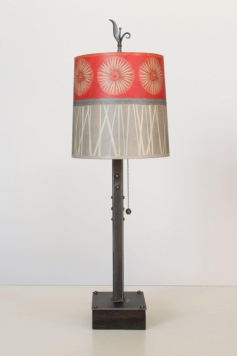Steel Table Lamp on Wood with Medium Drum Shade in Tang