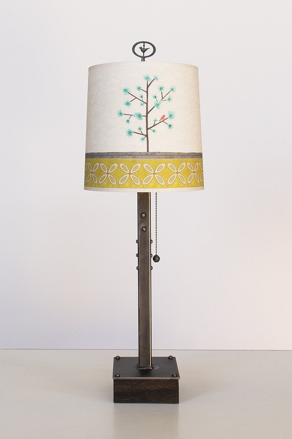 Steel Table Lamp on Wood with Medium Drum Shade in Tree Song
