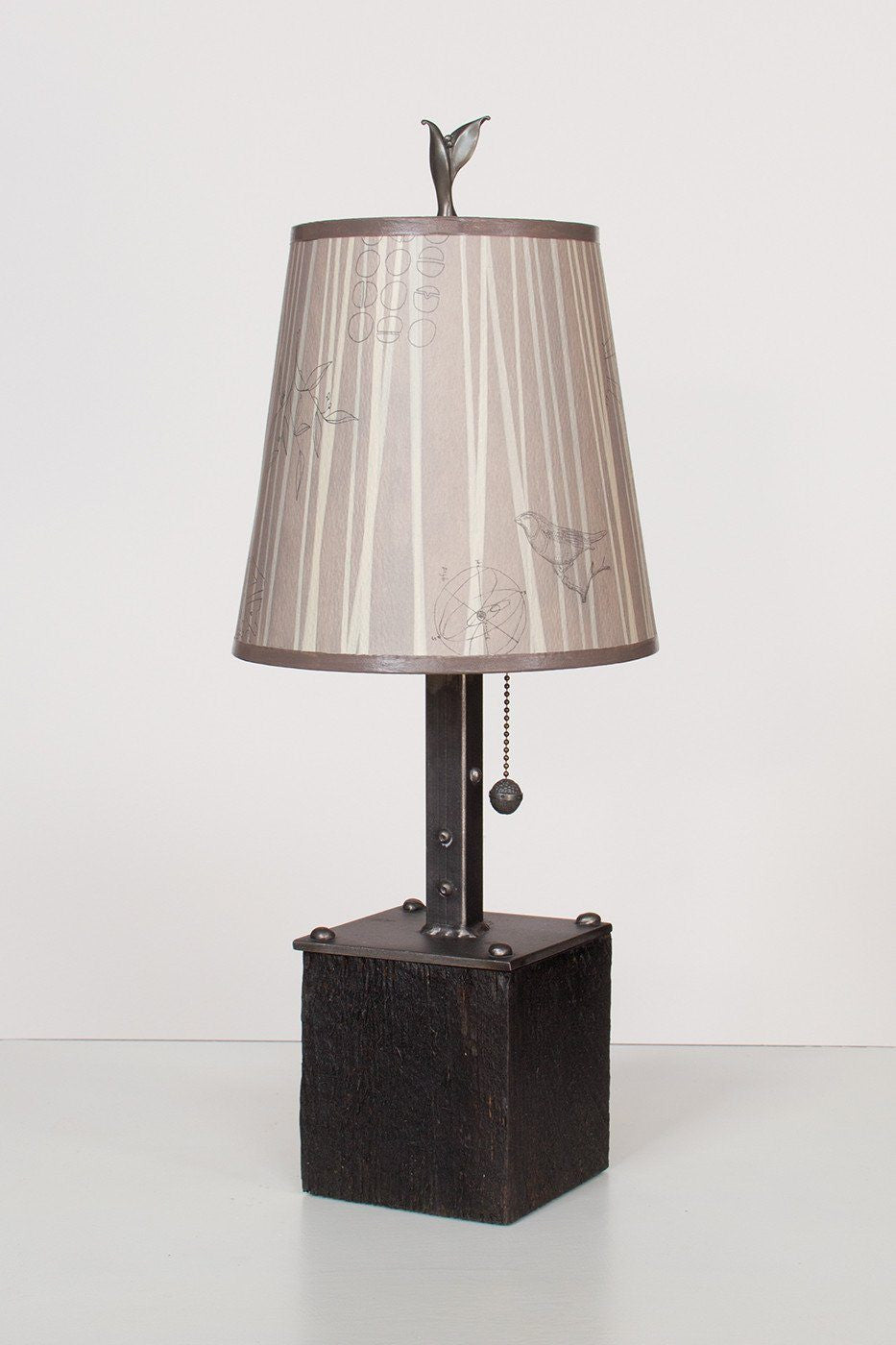 Steel Table Lamp on Reclaimed Wood with Small Drum Shade in Birch Lit