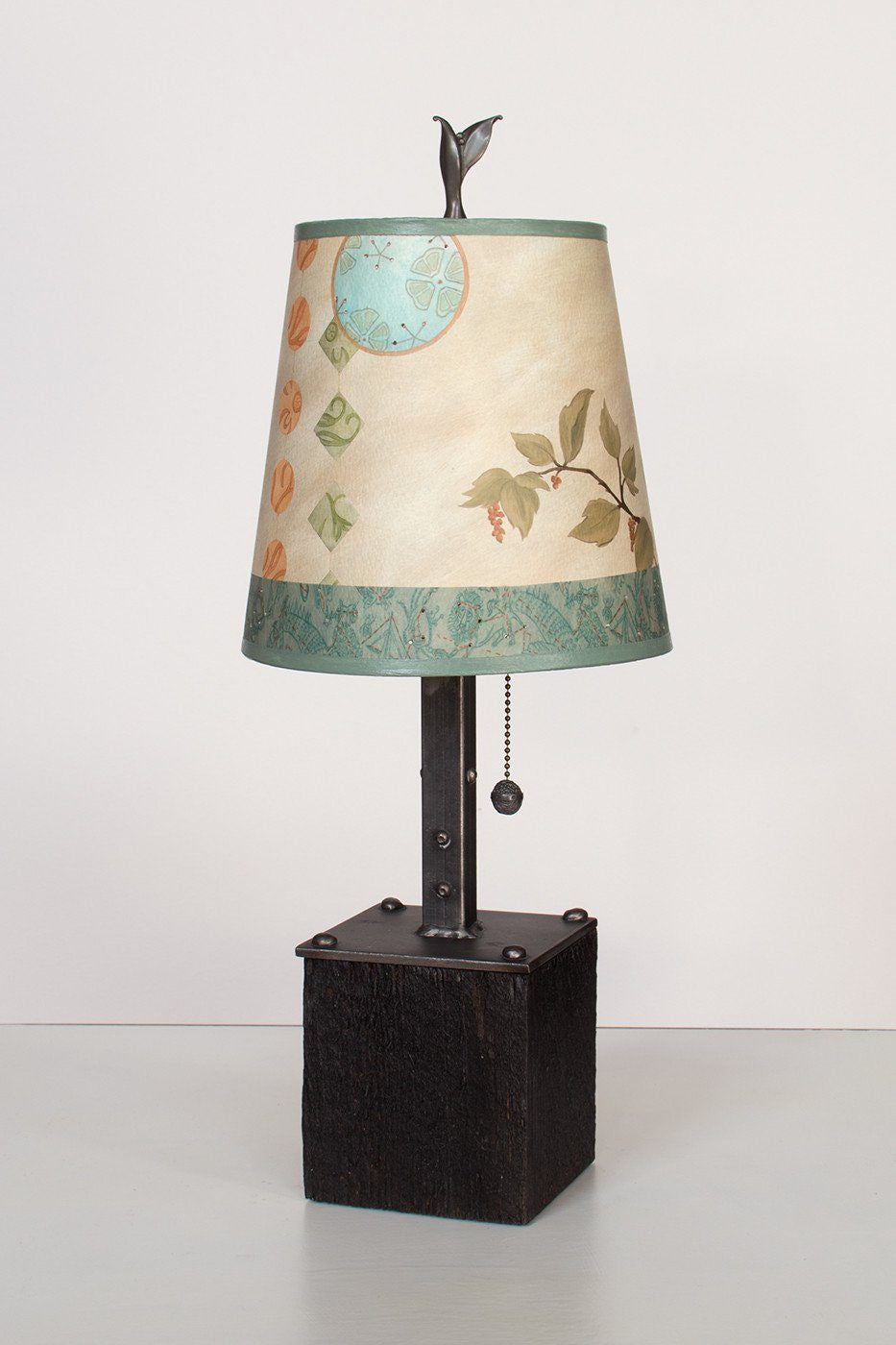 Steel Table Lamp on Reclaimed Wood with Small Drum Shade in Celestial Leaf Lit