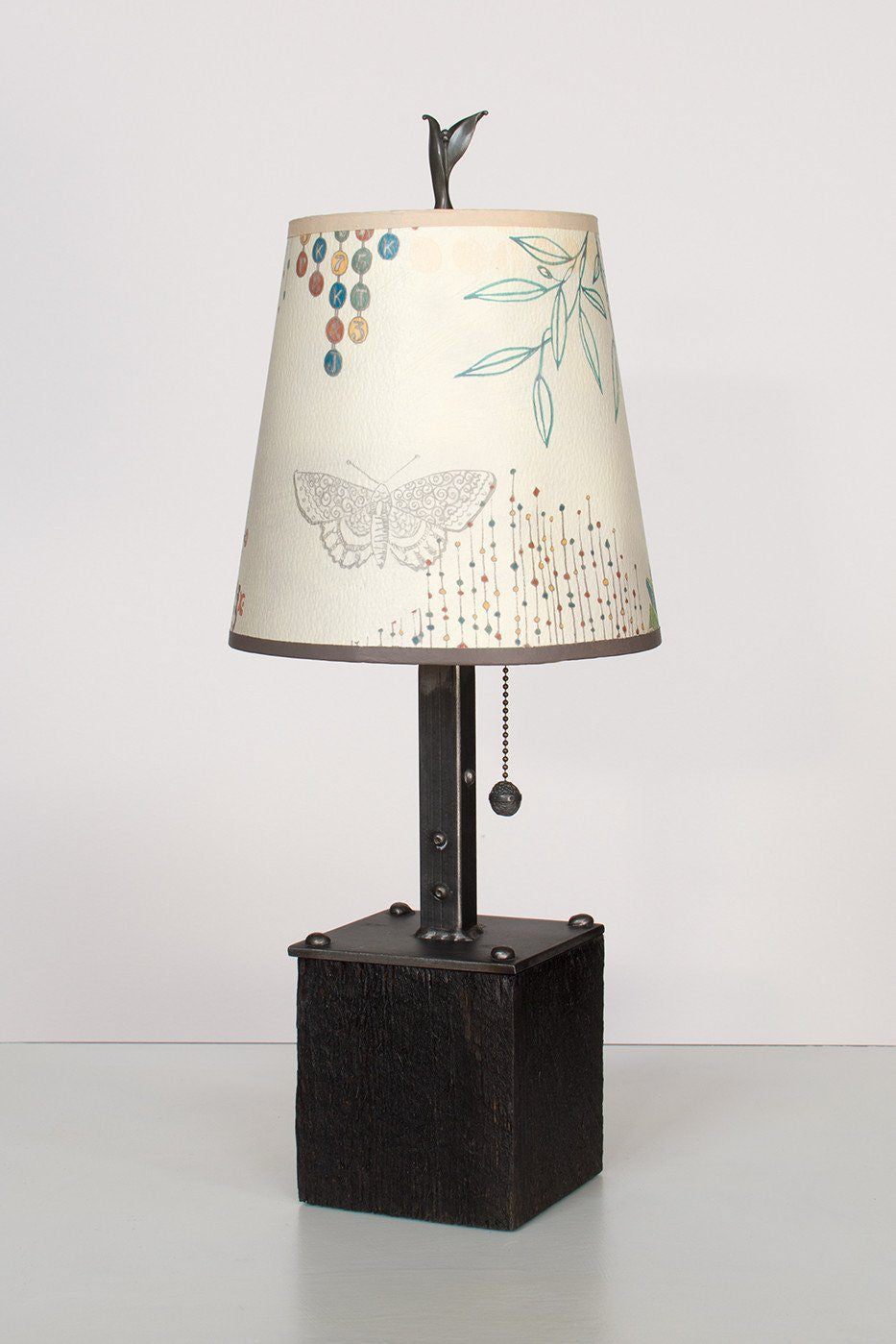Steel Table Lamp on Reclaimed Wood with Small Drum Shade in Ecru Journey Lit