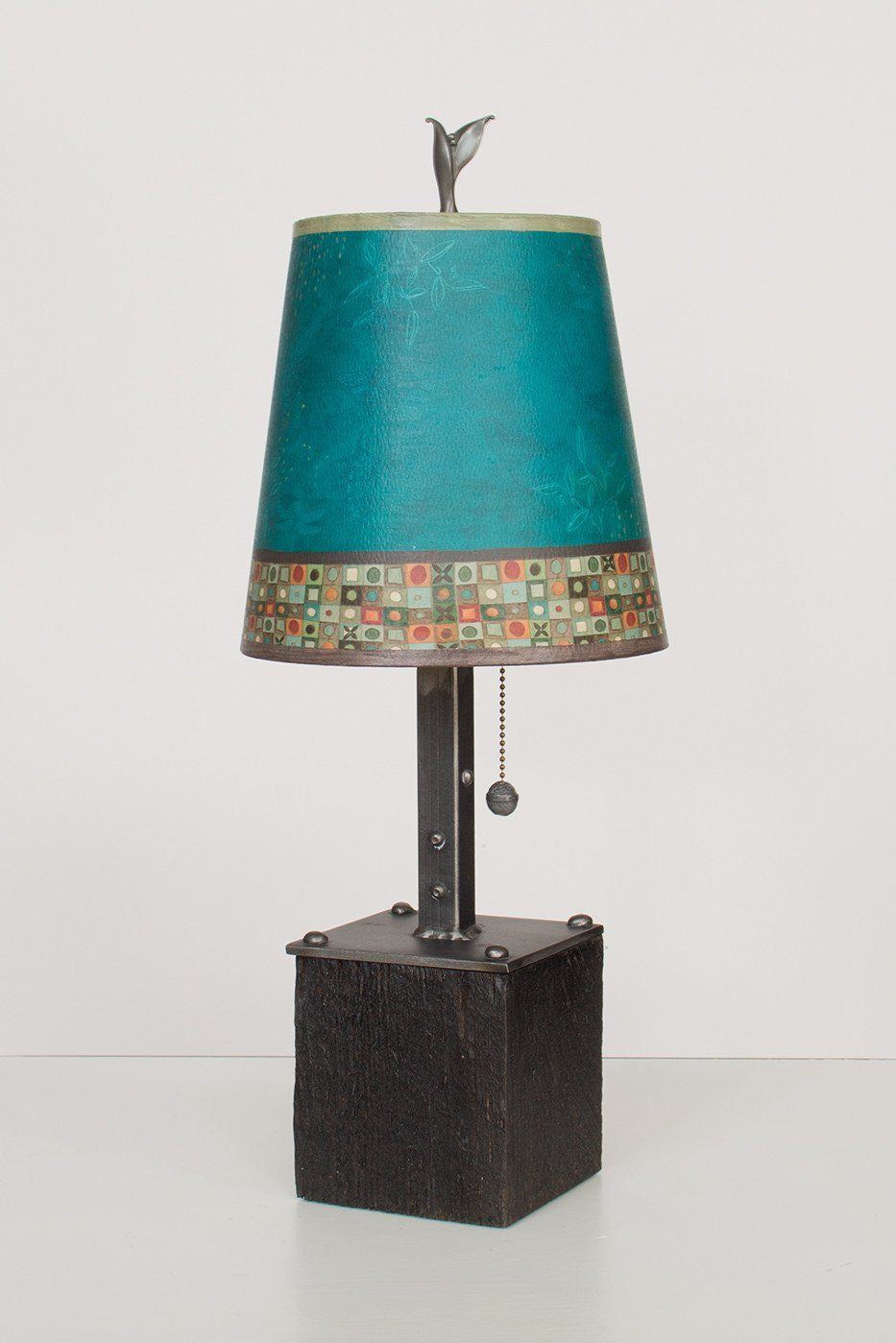 Steel Table Lamp on Reclaimed Wood with Small Drum Shade in Jade Mosaic Lit
