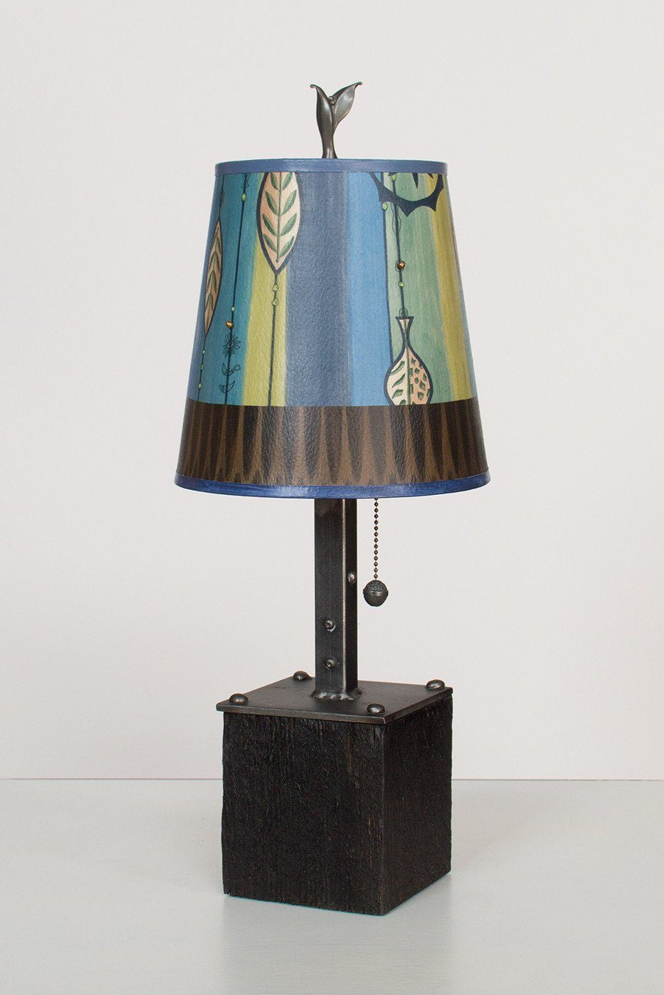 Steel Table Lamp on Reclaimed Wood with Small Drum Shade in Leaf Stripe Blues Lit