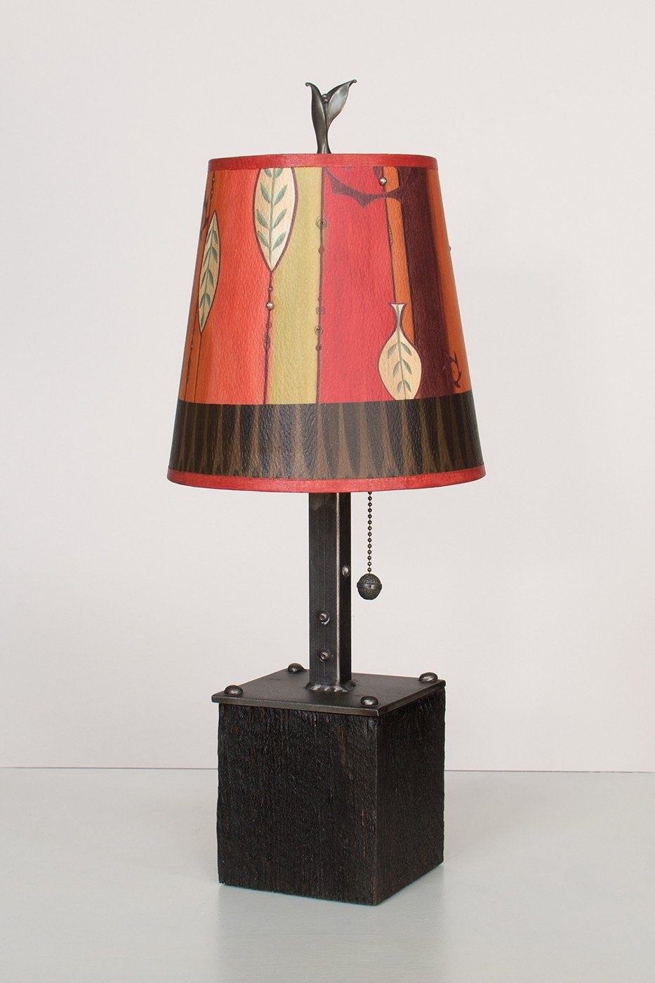 Steel Table Lamp on Reclaimed Wood with Small Drum Shade in Leaf Stripe Red Lit