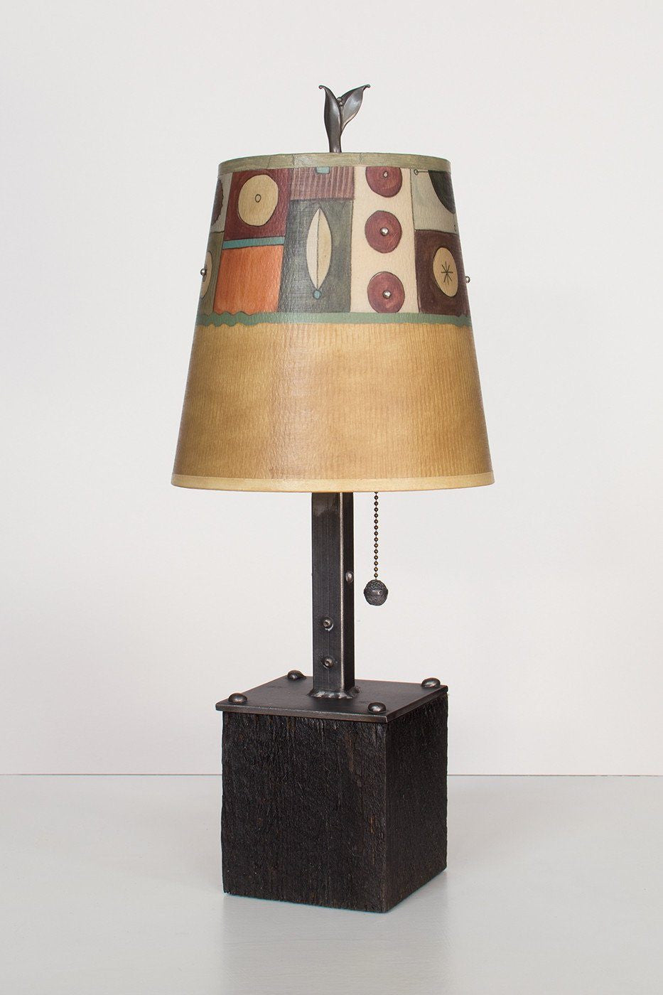 Steel Table Lamp on Reclaimed Wood with Small Drum Shade in Lucky Mosaic Hickory Lit