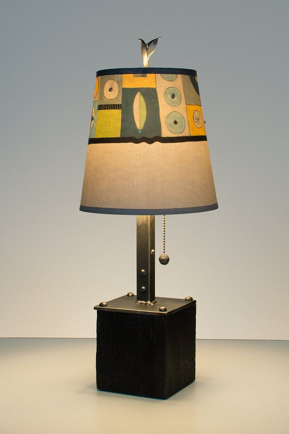 reclaimed lighting. Steel Table Lamp On Reclaimed Wood With Small Drum Shade In Lucky Mosaic Oyster Lit Lighting
