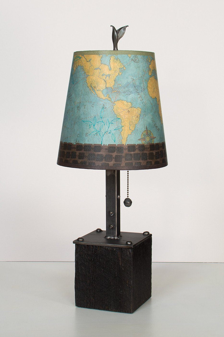 Steel Table Lamp on Reclaimed Wood with Small Drum Shade in Map Lit