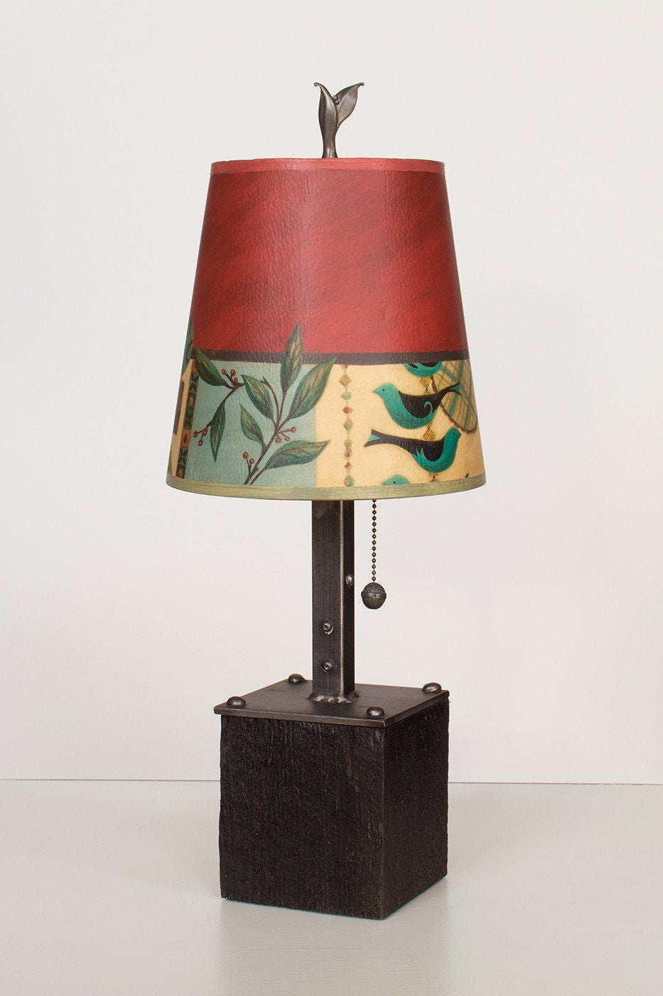 Steel Table Lamp on Reclaimed Wood with Small Drum Shade in New Capri Lit