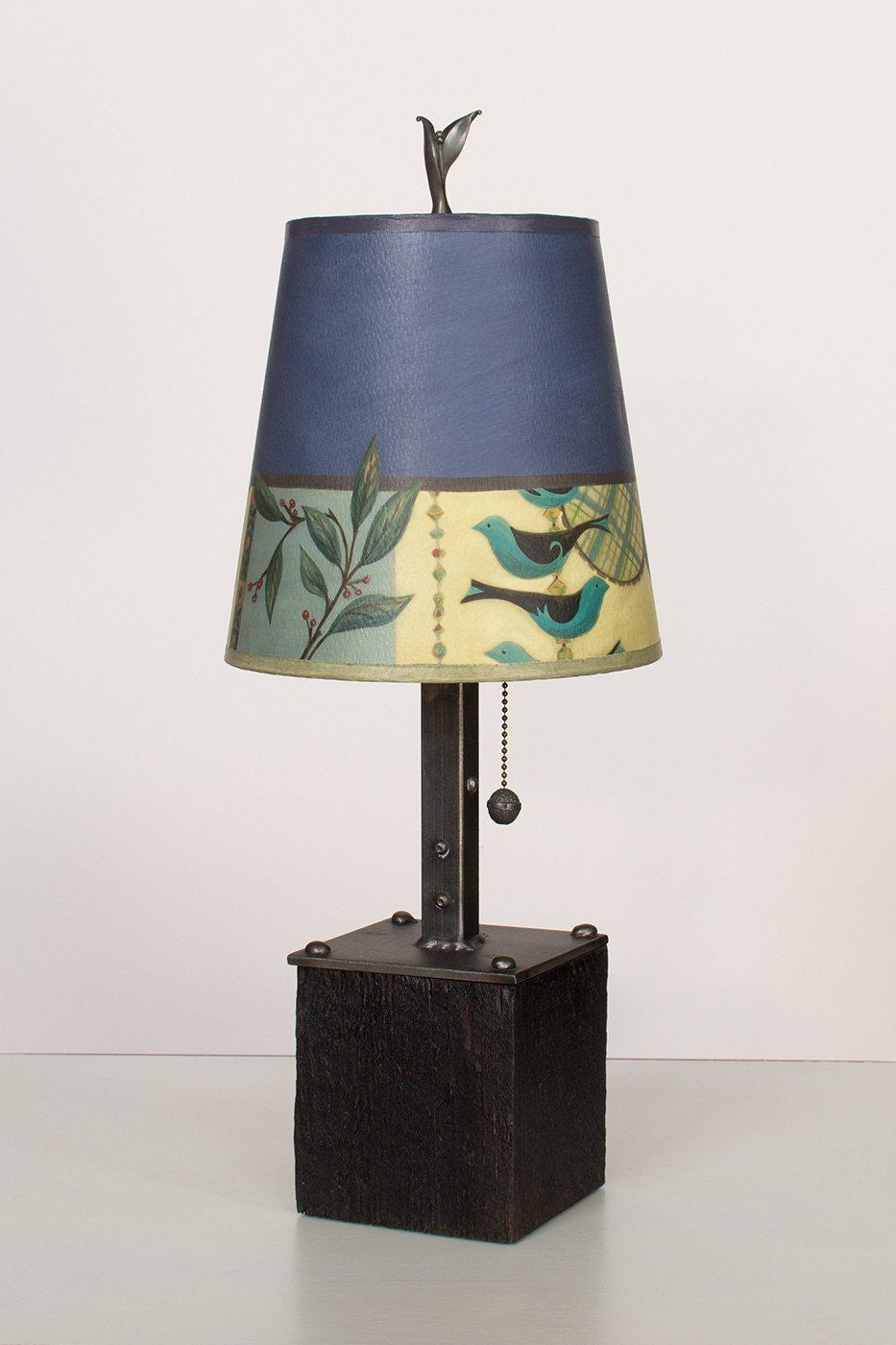 Steel Table Lamp on Reclaimed Wood with Small Drum Shade in New Capri Periwinkle Lit