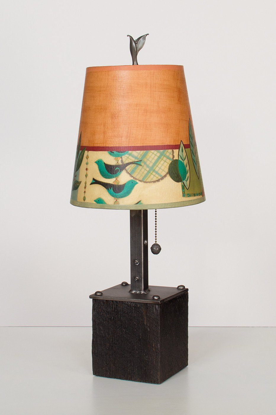 Steel Table Lamp on Reclaimed Wood with Small Drum Shade in New Capri Spice Lit