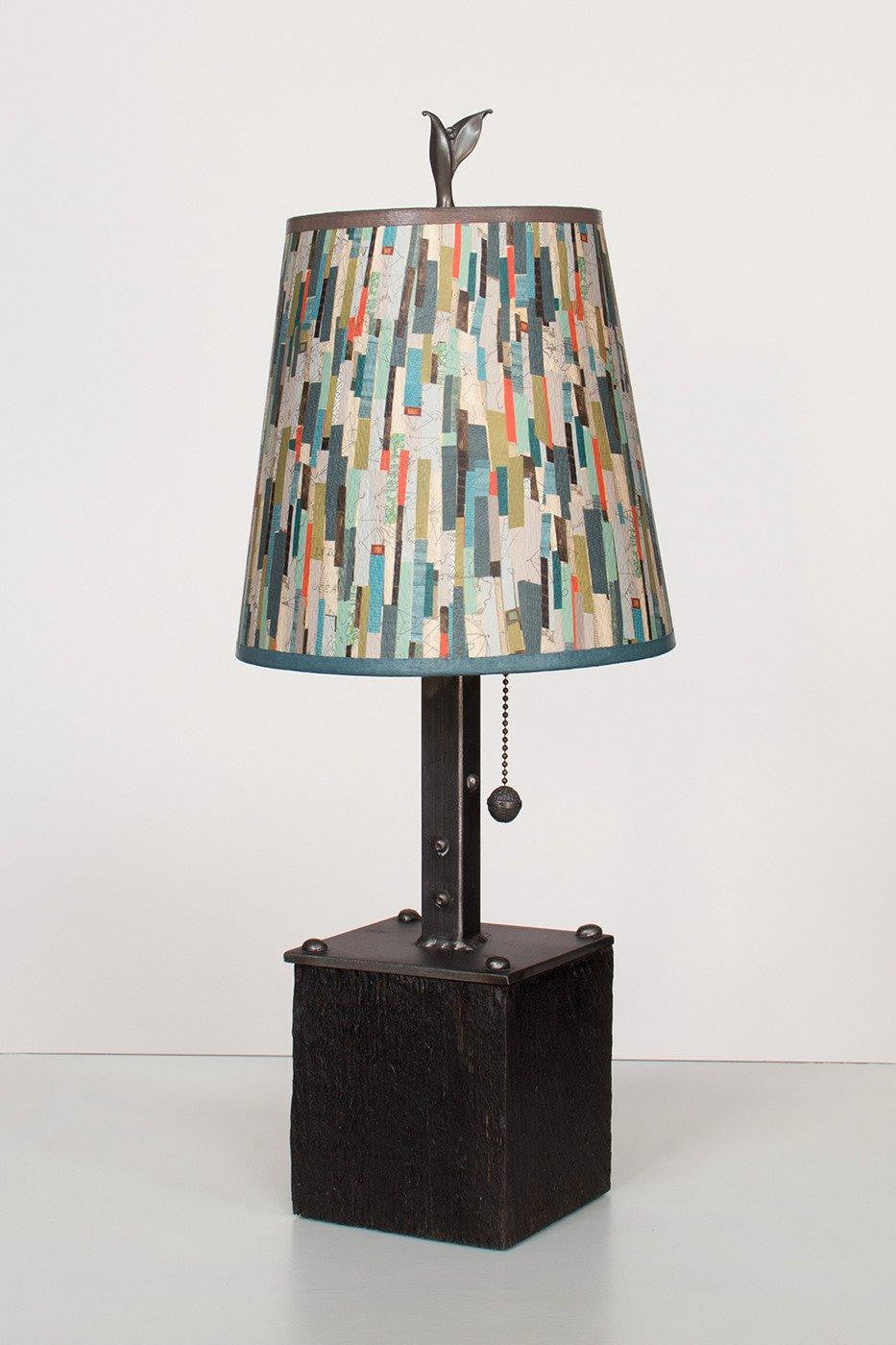 Steel Table Lamp on Reclaimed Wood with Small Drum Shade in Papers Lit
