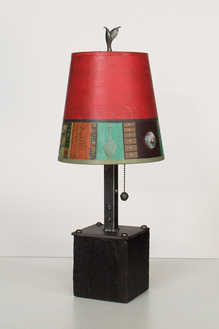 Steel Table Lamp on Reclaimed Wood with Small Drum Shade in Red Match Lit