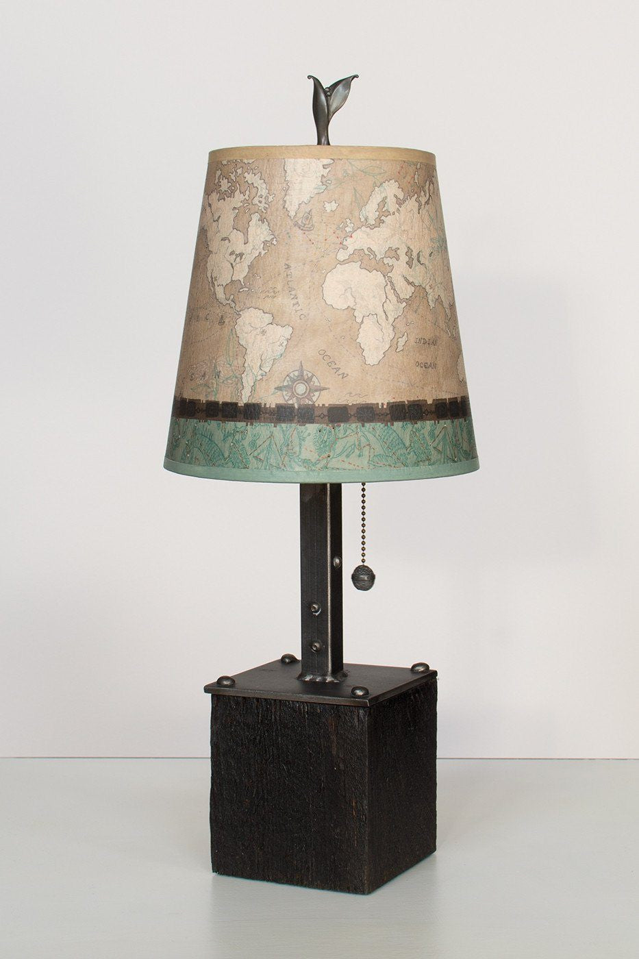 Steel Table Lamp on Reclaimed Wood with Small Drum Shade in Sand Map Lit