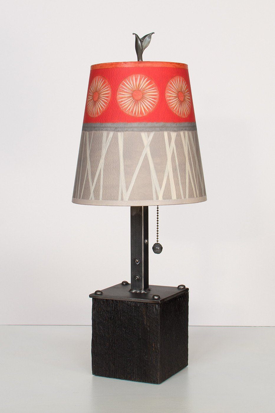 Steel Table Lamp on Reclaimed Wood with Small Drum Shade in Tang Lit