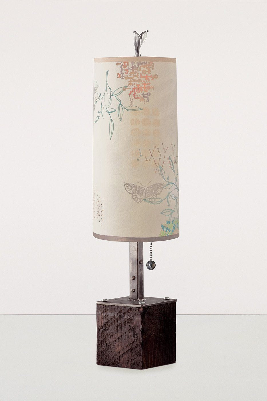 Steel Table Lamp on Reclaimed Wood with Small Tube Shade in Ecru Journey