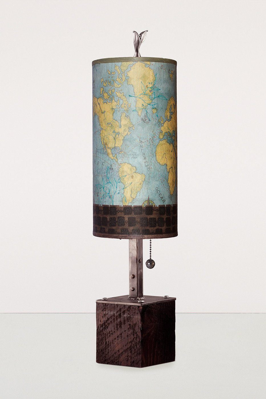 Steel Table Lamp on Reclaimed Wood with Small Tube Shade in Map