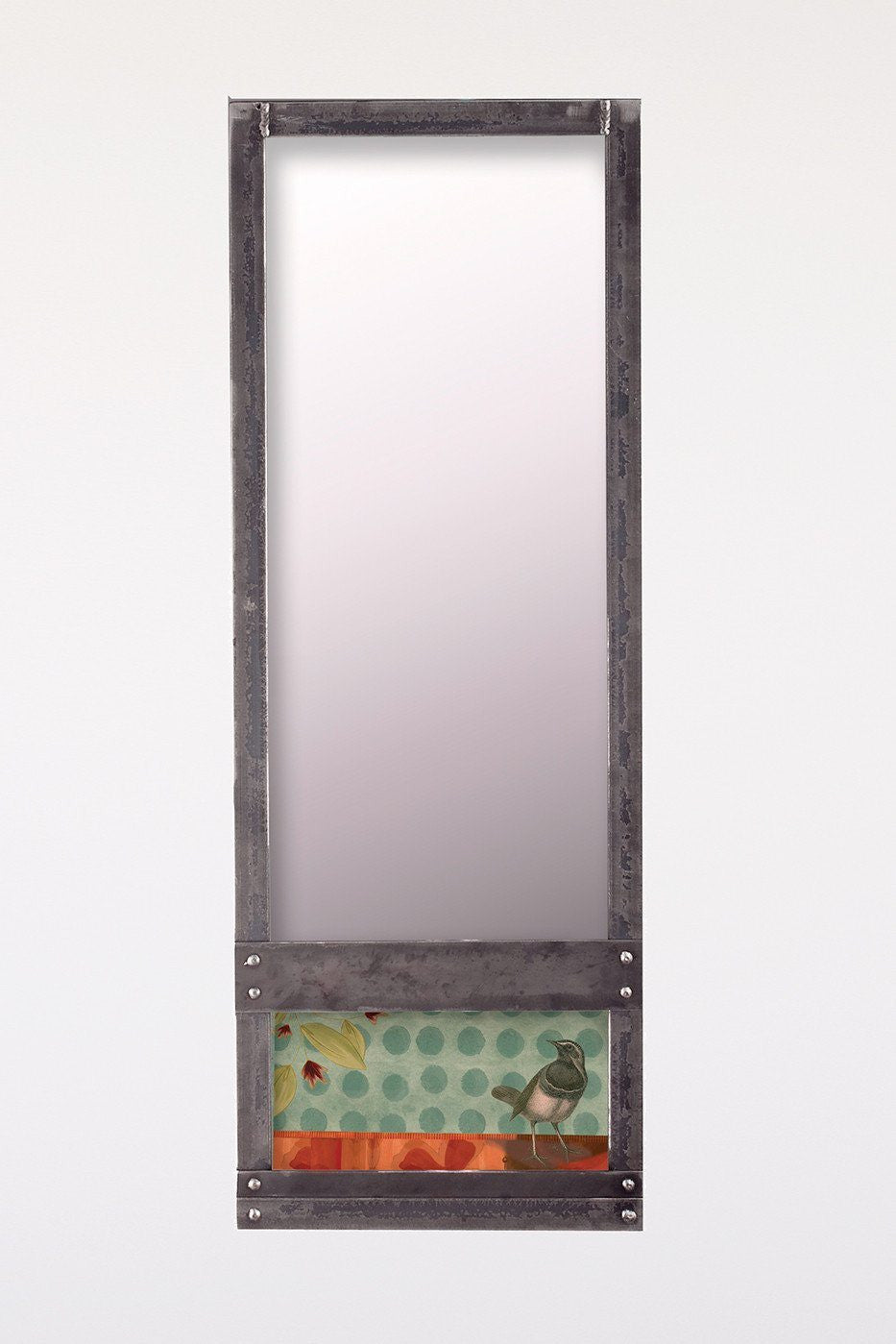 Steel Wall Mirror in Aqua Bird