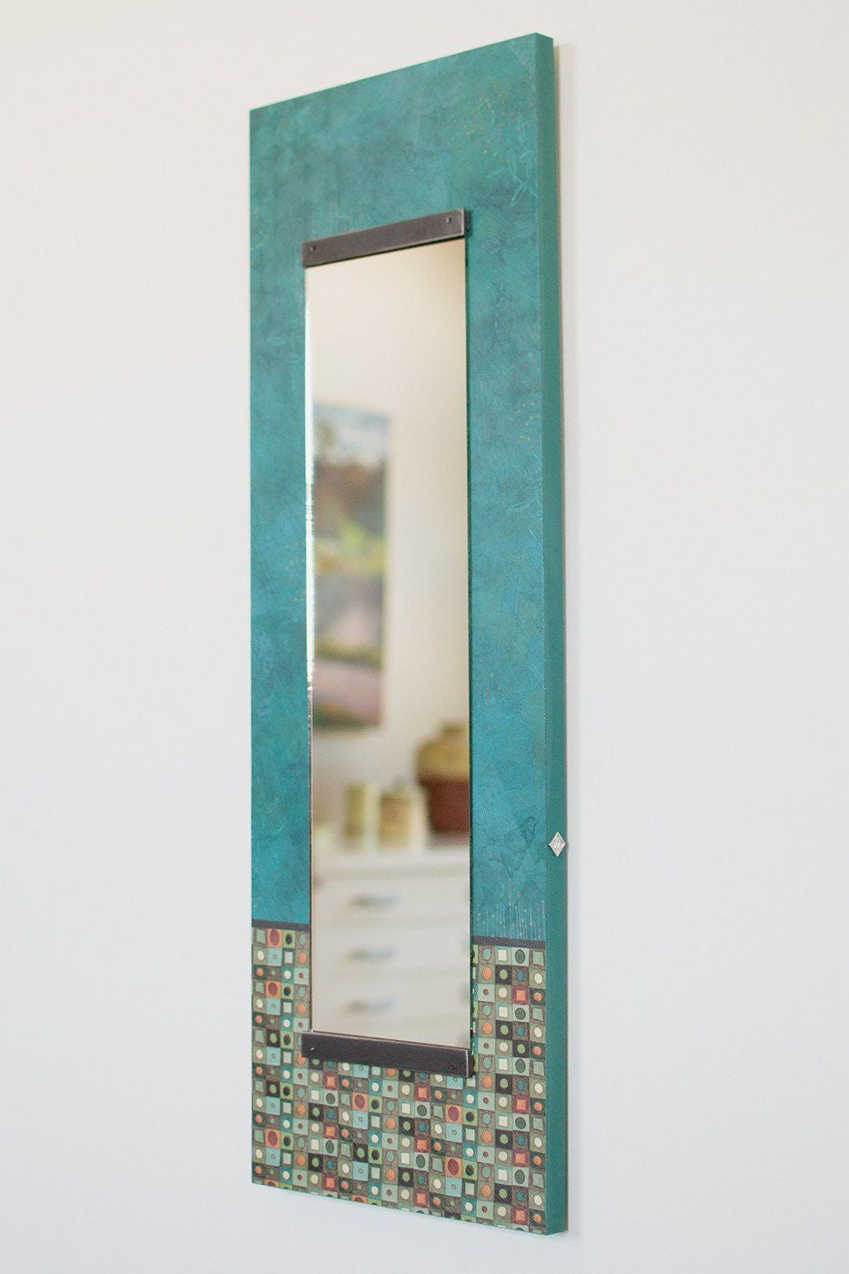 Tall Wall Mirrors tall wall mirror in jade mosaic - ugone & thomas