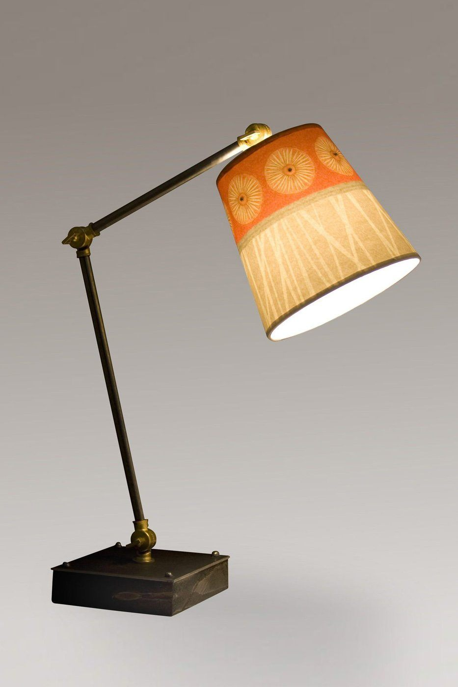 Task Table Lamp with Tang Shade on Wood