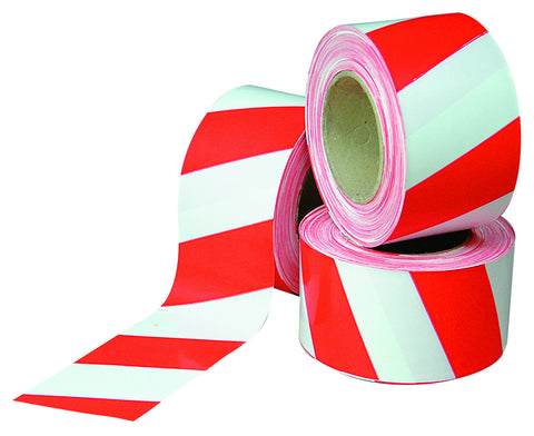 Non-Reflective Red & White Site Barrier Tape 100m