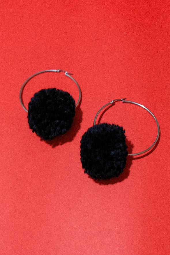 Big Pompom Hoopies (Jet Black)