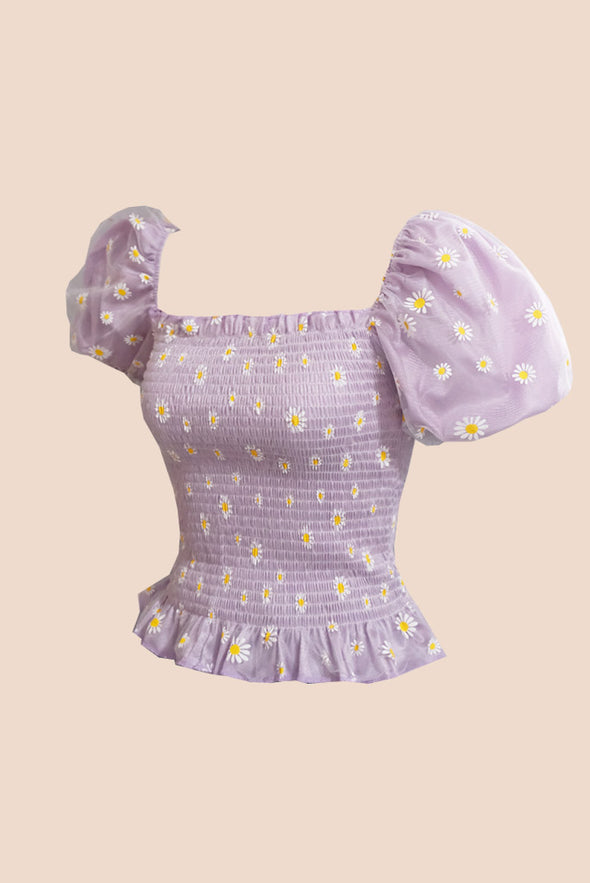 Lazy Daisy Puff Top (Lilac)