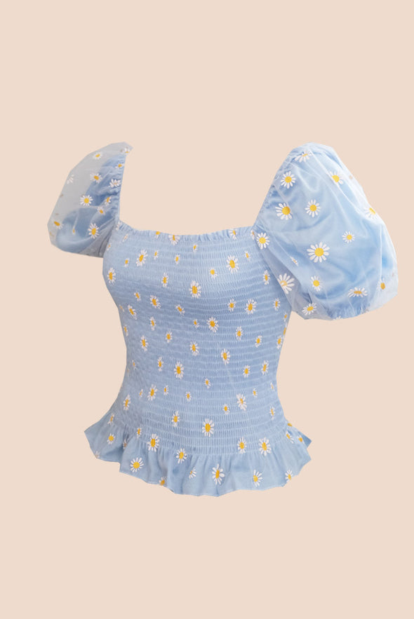 Lazy Daisy Puff Top (Baby Blue)