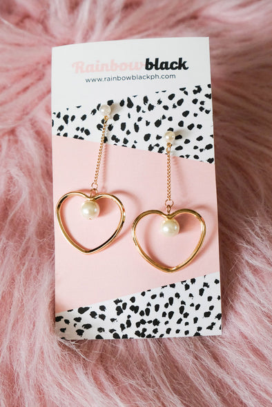 Heart Drop Earrings (Gold)