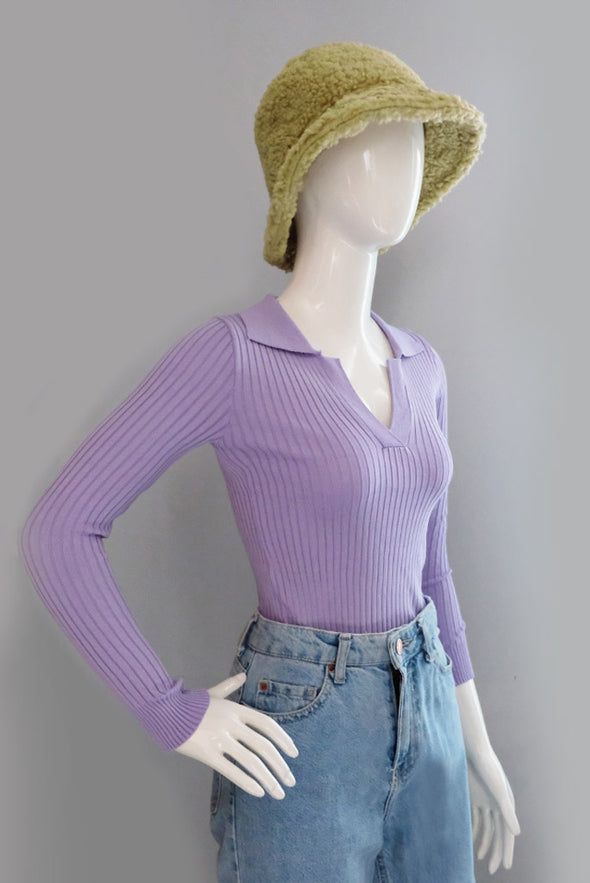 Velma Knit Top - Lavender